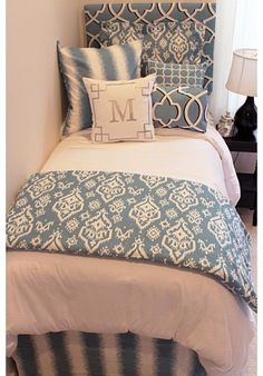Beautiful Blue Designer Teen & Dorm Bed in a Bag | Teen Girl Dorm Room Bedding. Designer headboard, custom pillows, exclusive bed scarf, window panels, wall art, bed skirts, duvet (twin, queen, king) and custom monogramming!! Turn your room from drab to fab!!