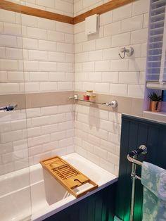 White metro tiles, oak, wood paneling