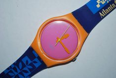 "1996 Vintage Swatch Watch GO-100C ATLANTA Olympics STAFF Quartz Gents Ladies Plastic Originals For your consideration: One very lightly used Gent's size Swatch Original watch, model GO-100C ""Atlanta Staff"". This Swatch was released as part of the celebration of the Centennial"