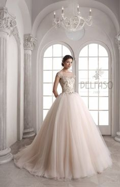 blush wedding dress by Belfaso Pretty Wedding Dresses, Wedding Wishes, Dream Dress, One Shoulder Wedding Dress, Ball Gowns, Formal Dresses, Collection, Vip, Blush