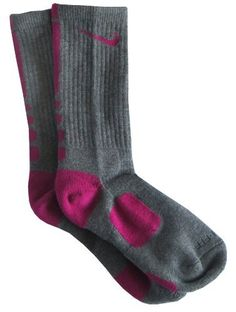 Nike Elite Men's Dri-Fit Basketball Crew Socks (Shoe Size (8-12), Gray/Fuschia) (852671969670) Midfoot Compression Fit that helps keep socks and cushioning in place. Dri-FIT® fabric wicks away moisture to help keep feet dry and cool. Anatomical left and right, superior fit and cushioning. Sold as single pair.