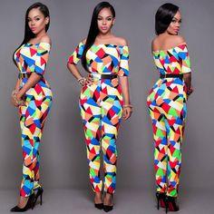 Off Shoulder Colorful Triangle Print Short Sleeve Long Jumpsuit