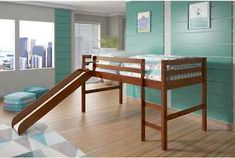 Loft Beds for Kids with Slide Twin Boys and Girls Wood