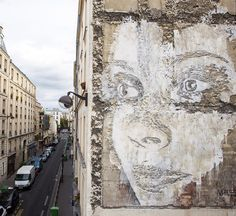 Portuguese urban artist Alexandre Farto (aka Vhils) creates stunning murals from decomposing walls using chisels, drills and small explosives.                                 Gloucestershire Resource Centre http://www.grcltd.org/scrapstore/