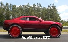 """candy paint chevy cars   ... Mayra's Candy Brandywine 2010 Chevy Camaro on 30"""" DAVIN PWRFL Floaters"""