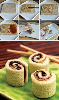 Turn a boring peanut butter and jelly sandwich into something a little more fun; sushi! You could also fill it with a few other fun ingredients, like bananas, honey, raisins, cream cheese or celery. Thank you, Peas & Crayons , for this awesome tutorial.
