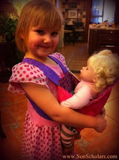 DIY Baby Doll Carrier Tutorial & Pattern. (no buttons, velcro or buckles)