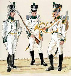 Ufficiale dei fucilieri, sottufficiale e cornetta dei fucilieri del 2 btg. del Lippe
