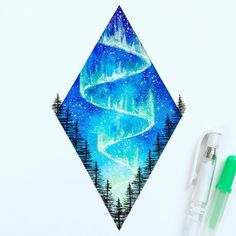 Geometric watercolor night sky