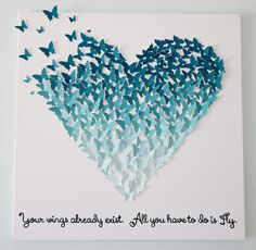 Hand-made 3D Butterflies - Ombre Heart Art with Quote! Customizable! 24 x 24 - Wedding gift / Children's Room Decor / Valentine's Day Gift