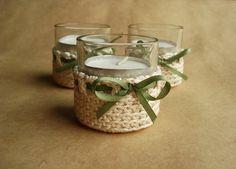 Crochet Votive Candle Baskets / Holders. $9.50, via Etsy.