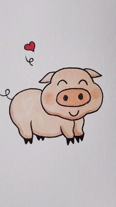 Art Drawings For Kids, Pencil Art Drawings, Cartoon Drawings, Easy Drawings, Animal Drawings, Art Sketches, Pig Drawing, Hand Embroidery Videos, Cute Pigs