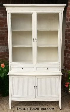 China cabinet in distressed off white with tobacco glaze ...