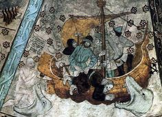 Michelangelo, The Prophet Jonah (ceiling of the Sistine Chapel) / Albertus Pictor, Jonah and the Whale (detail; from ceiling of Härkeberga Church, Uppland, Sweden) (date unknown) / Jan. Painting, Fairytale Illustration, Biblical Art, Art, Jonah And The Whale, Ancient Art, Medieval Paintings, Sistine, Art History