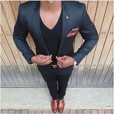 #BlackandBrown Men's Casual Suit Outfit on V Neck T Shirt