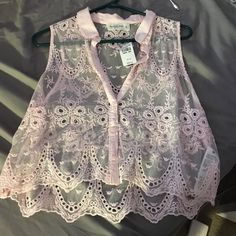 Lace button up Abercrombie top Lace, & a very light pink, never worn, still has tags Abercrombie & Fitch Tops Crop Tops
