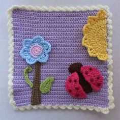 Ravelry: Ladybug And Flower Applique Set & Afghan Block pattern by CreativeCrochetWorkshop