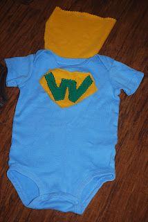 Superhero (with cape!) onesie. Easy #diy