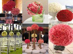 Cheap DYI: More Carnation center piece ideas.