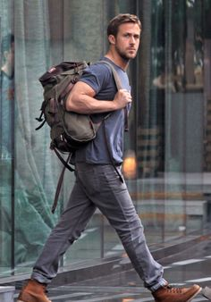 Good backpack, good boots, GOOD GOSLING . fashion . man . style . dr .