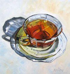 """""""My Cup of Tea"""" - Original Fine Art for Sale - © Neiley Harris"""