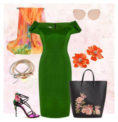"""""""orange and green"""" by elitstil on Polyvore featuring Topshop, Kenneth Jay Lane, Dolce&Gabbana and MANGO"""