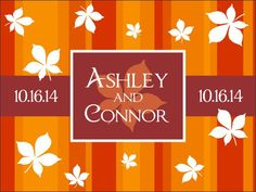 Autumn-themed welcome bag labels for a wedding in the fall.