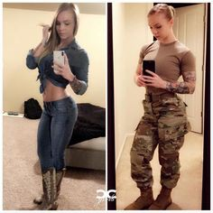 Presents Double Feature! My name is Jennifer and Im from Georgia :) I serve in the US Army! I love spreading motivation positivity and inspiration! Life is too short to be serious all the time so you can find me at the beach playing in the mud Female Soldier, Female Marines, Army Soldier, Military Girl, Military Women, Girls Uniforms, Badass Women, Workout Tops, Strong Women