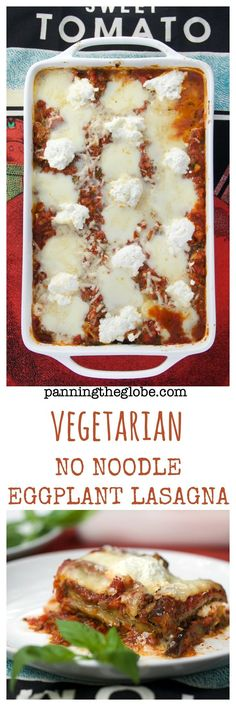 "No Noodle Eggplant Lasagna: A layered, casserole of roasted eggplant slices, a ""meaty"" vegetarian primavera sauce, and three cheeses. #GlutenFree #lasagna"