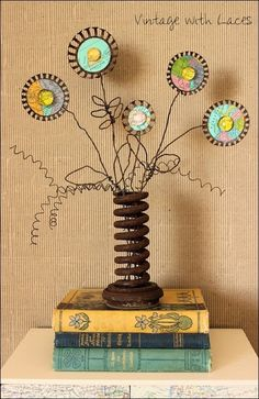 Rusty Map Flowers - An upcycled spring bouquet by Vintage with Laces