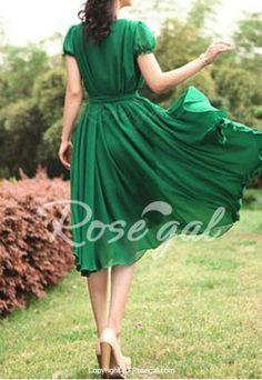 Vestido de la gasa del estilo refrescante con cuello redondo de color sólido con cordones de manga corta para las mujeres