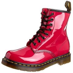 """Dr. Martens ORIGINAL """"1460 BLACK PAYTENT"""" Laceup boots ($120) ❤ liked on Polyvore featuring shoes, boots, red, faux leather boots, red flat shoes, flat lace up boots, black lace up boots and lace up boots"""