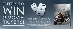 """Giveaway: Win 2 Movie Tickets to See """"All Is Lost"""" Starring Robert Redford- http://getmybuzzup.com/wp-content/uploads/2013/10/AIL-promo425.jpg- http://getmybuzzup.com/giveaway-win-2-movie-tickets-to-see-all-is-lost-starring-robert-redford/-  Win 2 Movie Tickets to See """"All Is Lost"""" Academy Award® winner Robert Redford stars in All Is Lost, an open-water thriller about one man's battle for survival against the elements after his sailboat is destroyed at sea. But wit"""
