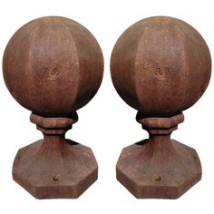 Pair of Unusual Octagonal Cast Iron Finials | for front garden walls