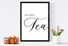 But first tea print & tea sign   Tea lover? Get in style with this tea poster design, great tea wall art or tea wall decor by SmallMiraclePrints on Etsy