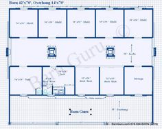 5 or 6 Stall Horse Barn Plan