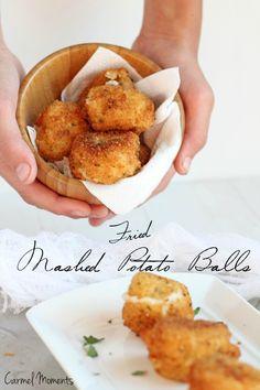 Fried Mashed Potato Balls -- Perfect use for leftover mashed potatoes. Crunchy outside, creamy inside |carmelmoments .com