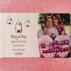 Our Save The Date #fallwedding #lovelovelove #rustic {Candlelit Mason Jar Deluxe Save the Date Magnet}