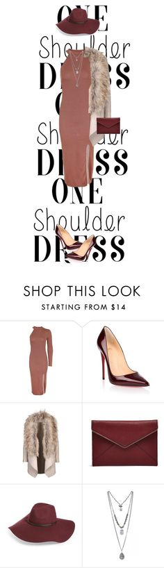 """""""One-Shoulder Dress"""" by maidaa12 ❤ liked on Polyvore featuring Topshop, Christian Louboutin, Rebecca Minkoff and Halogen"""