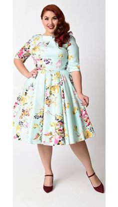 7a41859f5dac Plus Size Vintage Mint Seville Floral Half Sleeve Hepburn Swing Dress Looks  Vintage