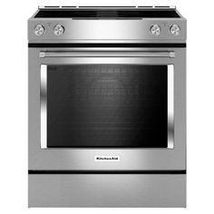 Kitchenaid 30 In 6 4 Cu Ft Downdraft Slide Electric Range With Self Cleaning Convection Oven Stainless Steel