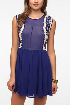 Pins and Needles Embroidered Deep V-Back Dress-So pretty!