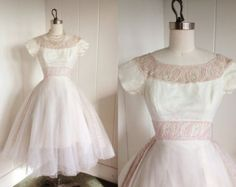 1950's Vintage White Chiffon Party Dress With Pink Embroidered Trim