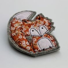 Embroidered Fabric Fox Brooch - pins & brooches