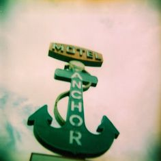 25% off with code SUMMER25 at checkout! - Anchor Motel Holga Lomography Photograph by PictureBook on Etsy #oldsign #dallas #texas #lomography #film #analog #holga #photography #etsy #anchor #motel #sign