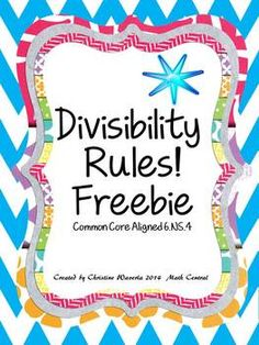 Divisibility Rules Worksheet Freebie By Math Central Teachers Pay Teachers Divisibility Rules Everyday Math Divisibility Rules Worksheet