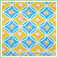 BonEful Fabric FQ Jennifer Paganelli * Bright Dot Yellow Aqua Pink Flower Cotton