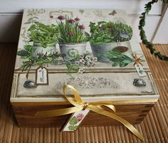 Tea or jewerly box with herbs, vintage look, Mother's Day Gift. $28.00, via Etsy.
