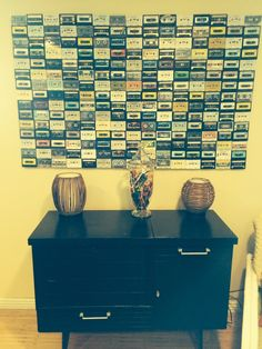 Cassette wall. Reused 225 cassettes to make to make new decor.