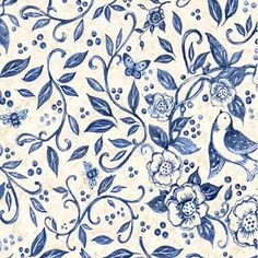 Susan Winget China Blue Birds and Bees Cotton Sewing by FabricMuse, $8.99